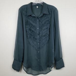 Free People | Green Sheer Long Sleeve Top, size M
